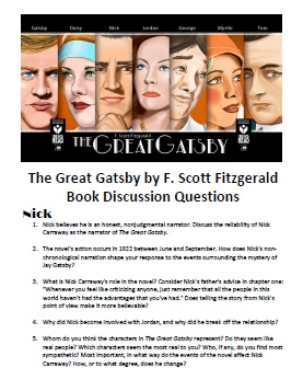 The Great Gatsby By F Scott Fitzgerald Book Discussion Questions