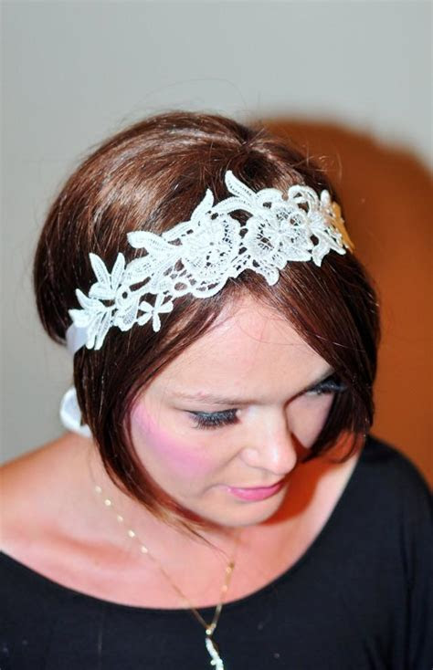 Lace Headband Ivory Headwrap Bridal Hair Band Vintage Head