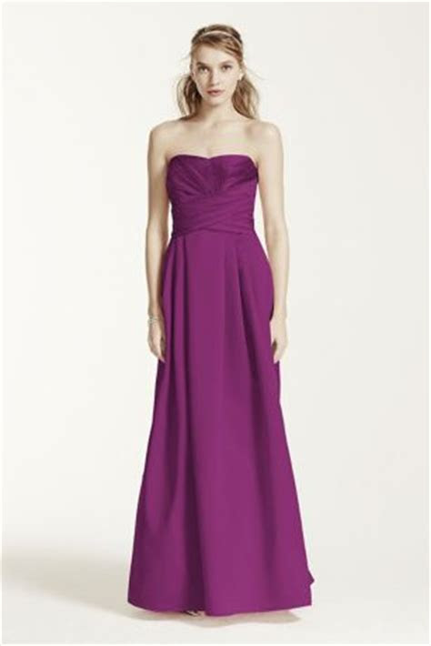 Strapless Satin Pleated Bodice Ball Gown   Davids Bridal