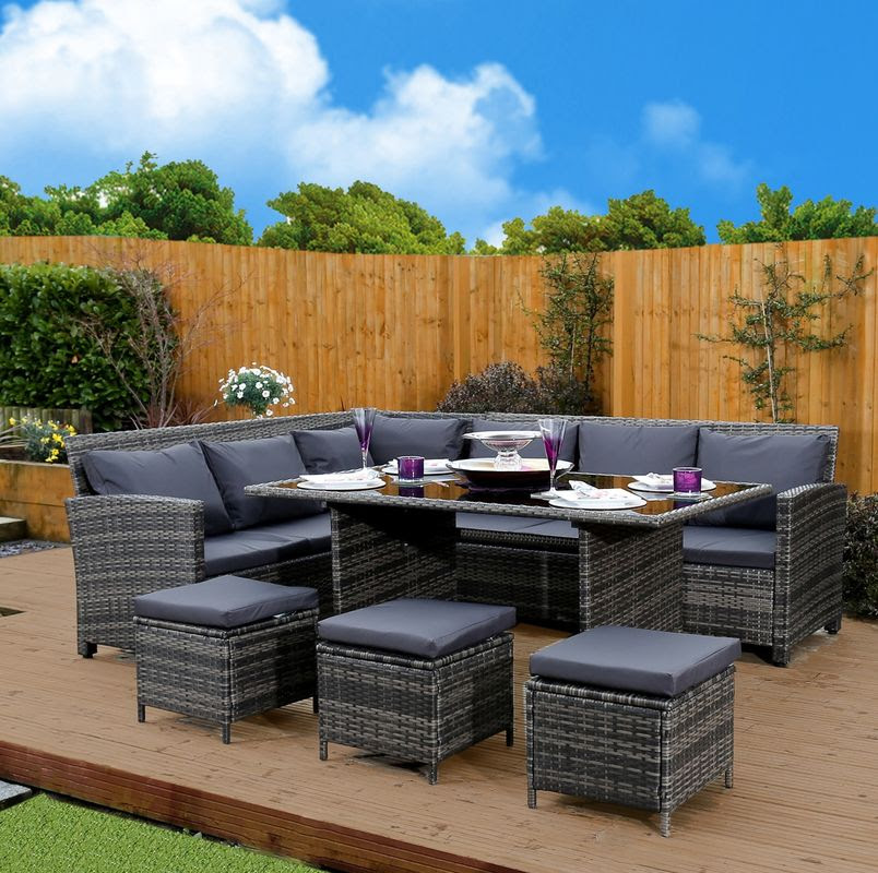Corner Outdoor Rattan Sofa Dining Sets High-End Quality ...