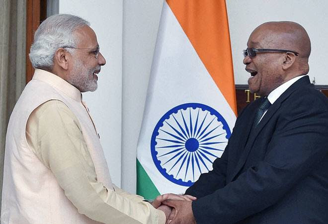 PM Narendra Modi with South African President Jacob Zuma
