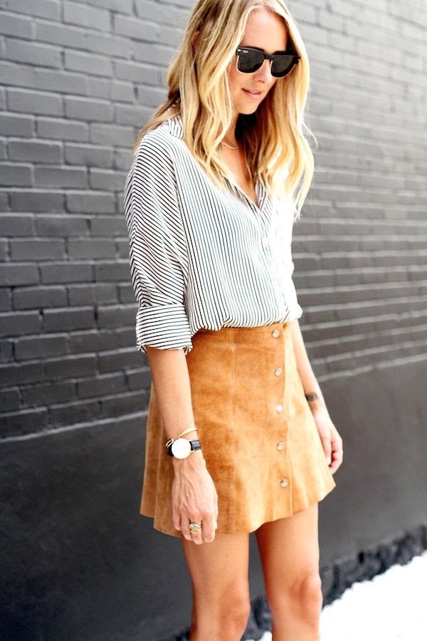 Le Fashion Blog Ray Ban Sunglasses Striped Shirt Suede Button Front Skirt Round Watch Wavy Hair Blogger Fall Style Via Fashion Jackson