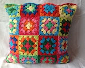 Crocheted Cushion Cover, Granny Square Cushion, Colourful Cushion, MADE TO ORDER - AddiesKnittedGifts