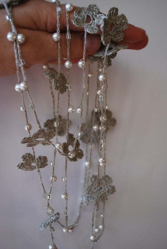 Linen Crocheted Lariat Necklace NELL   Natural Grey by magdalinen, $32.00