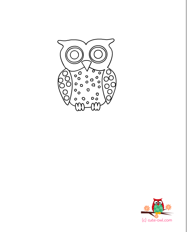 Cute Owl Coloring Pages For Kids - Drawing With Crayons