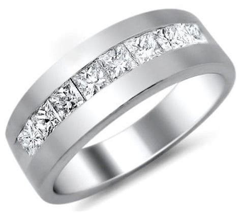 mens ct princess cut diamond wedding band ring platinum