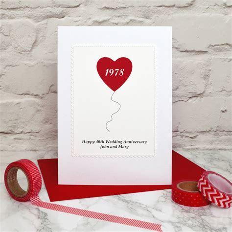 heart balloon ruby wedding anniversary card by jenny