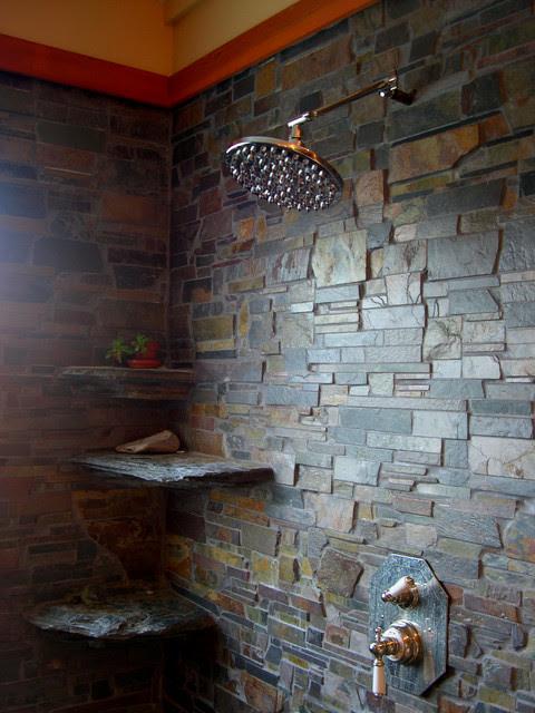 In Home Brazilian Slate Shower Room - Contemporary ...