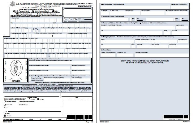 New Ds 82 Form For Passport Renewal Us