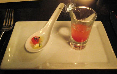 Watermelon with Feta & Watermelon Puree @ Bashan Restaurant