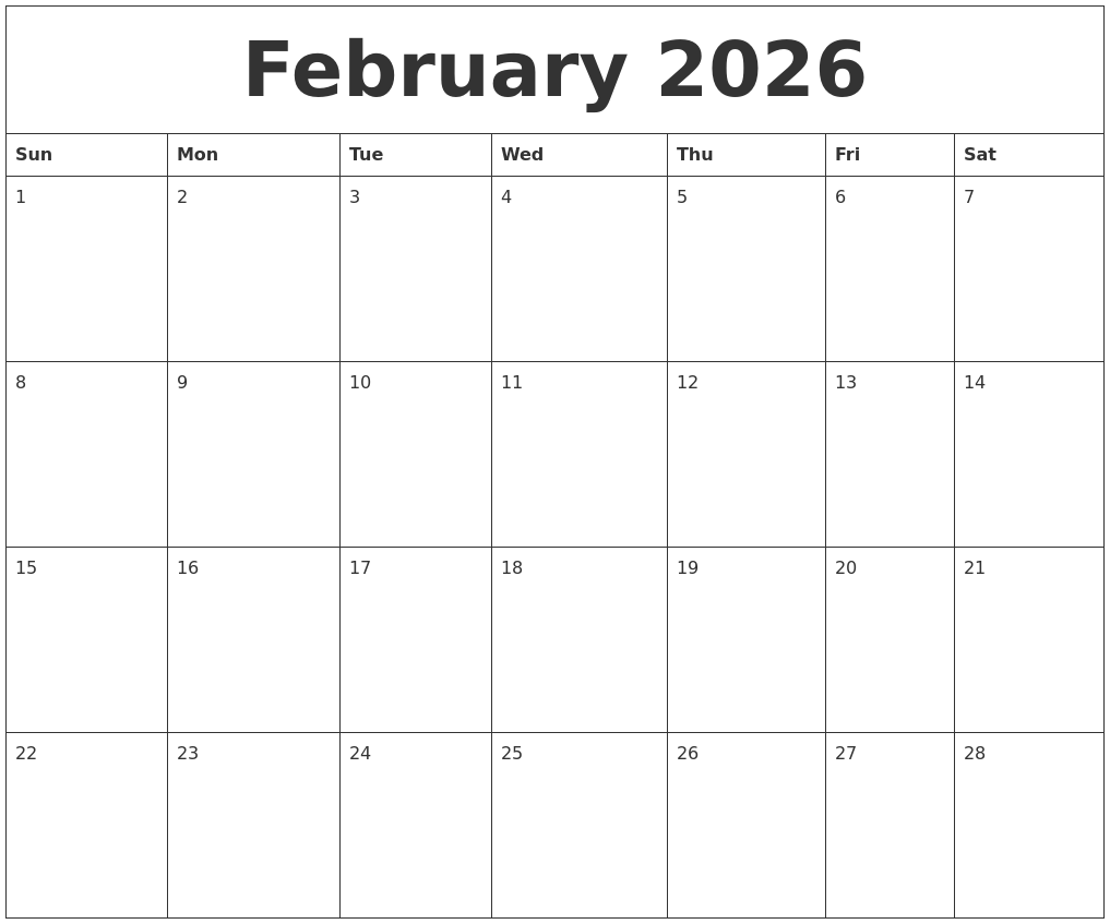 february 2026 calendar printable free