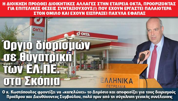 Όργιο διορισμών σε θυγατρική των ΕΛ.ΠΕ. στα Σκόπια