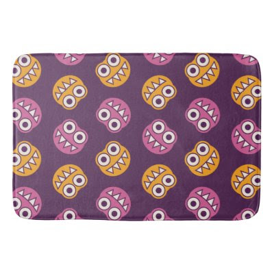 Purple Pink And Orange Cute Bugs Pattern Bath Mats