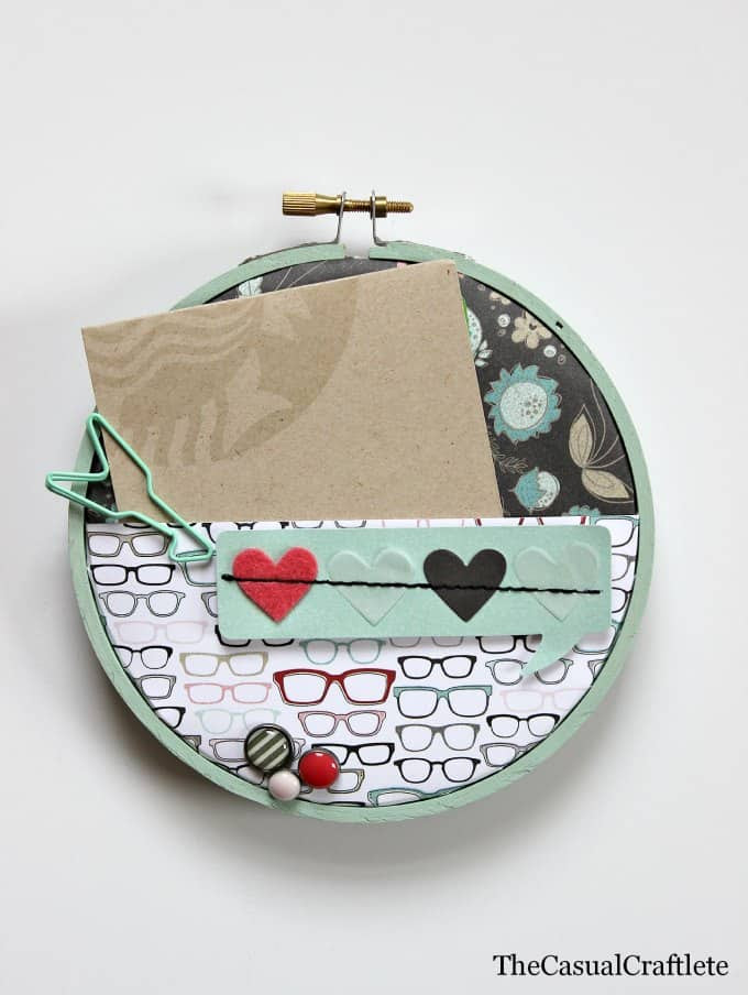 Scrapbook Paper Embroidery Hoop Gift Card Holder