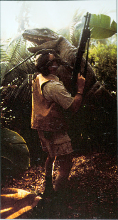 HUGS!<br />A raptor puppet is tested during a rehearsal of Muldoon's death scene.