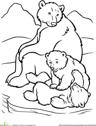 polar bear family coloring page preschool arctic animal
