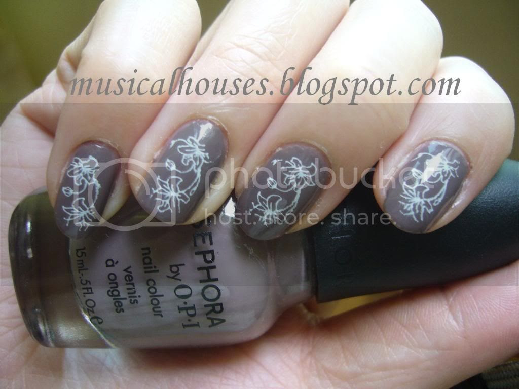 Sephora OPI Metro Chic and Konad White