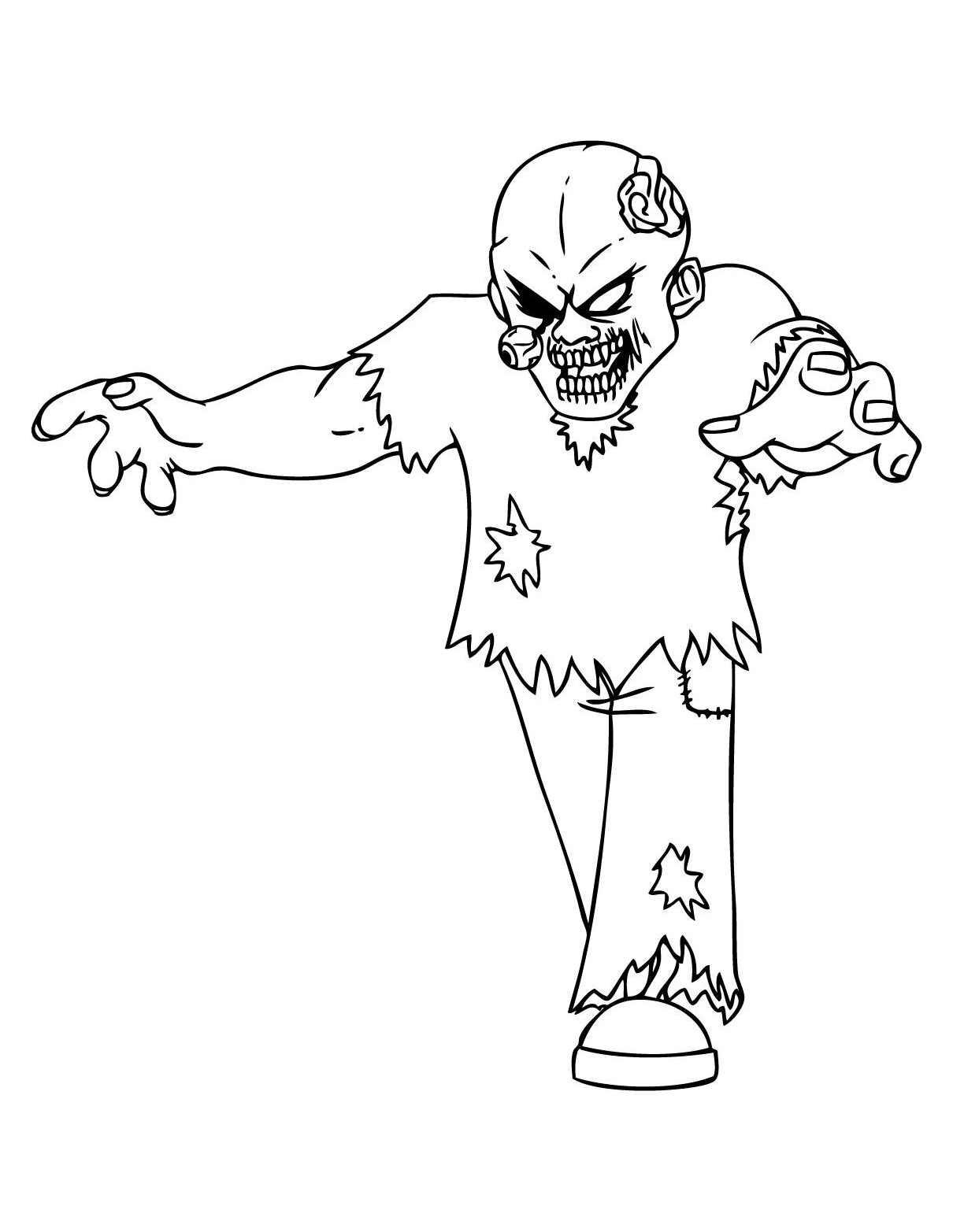 Téléchargez Et Imprimez Coloriage De Zombie Qui Fait Peur
