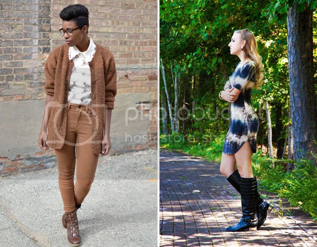 A brown monotone outfit and a tie die dress