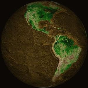 Topographical map of the Earth showing North A...