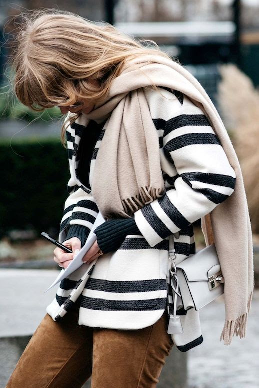Le Fashion Blog Street Style Stockholm Fashion Week Layered Look Nude Scarf Black And White Striped Coat Brown Suede Pants Via Vogue