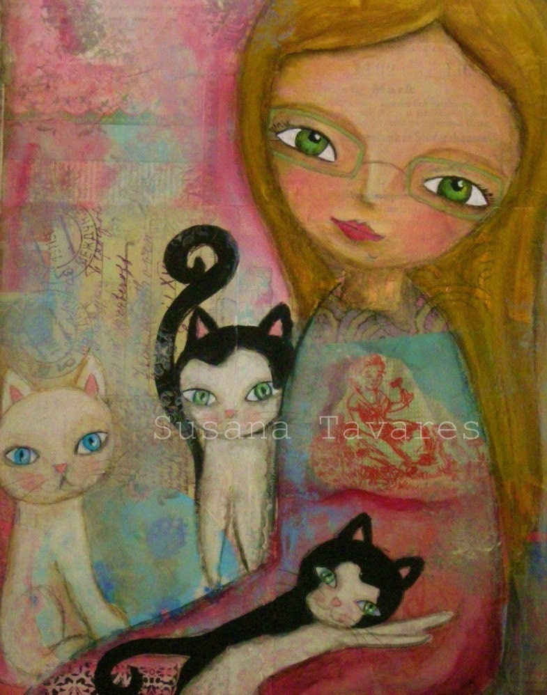 """LOVE KITTENS- art Print from original mixed media painting art collage 8 x 10"""""""