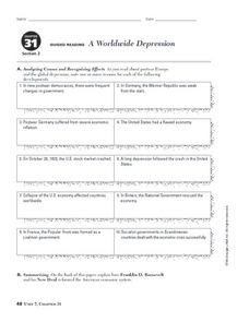A Worldwide Depression Worksheet for 9th - 10th Grade ...