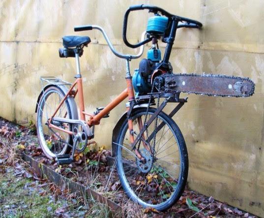 chainsaw bike, motor bike, hacked bike, weedwhacker motor, chainsaw motor, art bike, russian bike, russian vehicle, insane bike