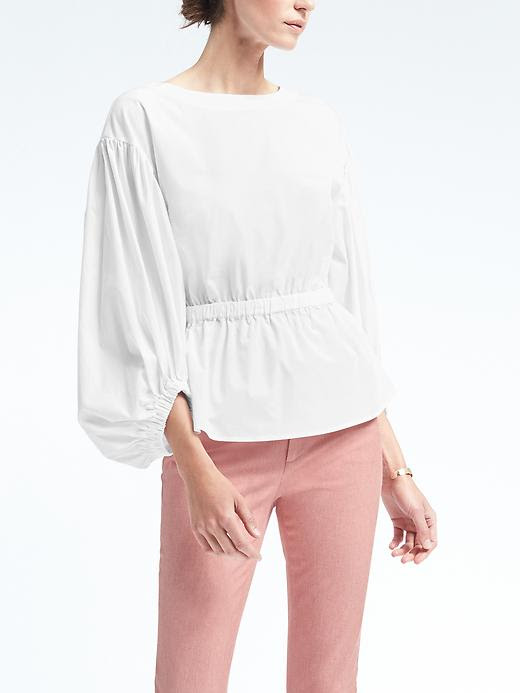 Banana Republic Cinched-Waist Bishop-Sleeve Top
