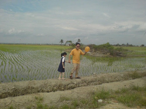 Leading Erica past the paddy field
