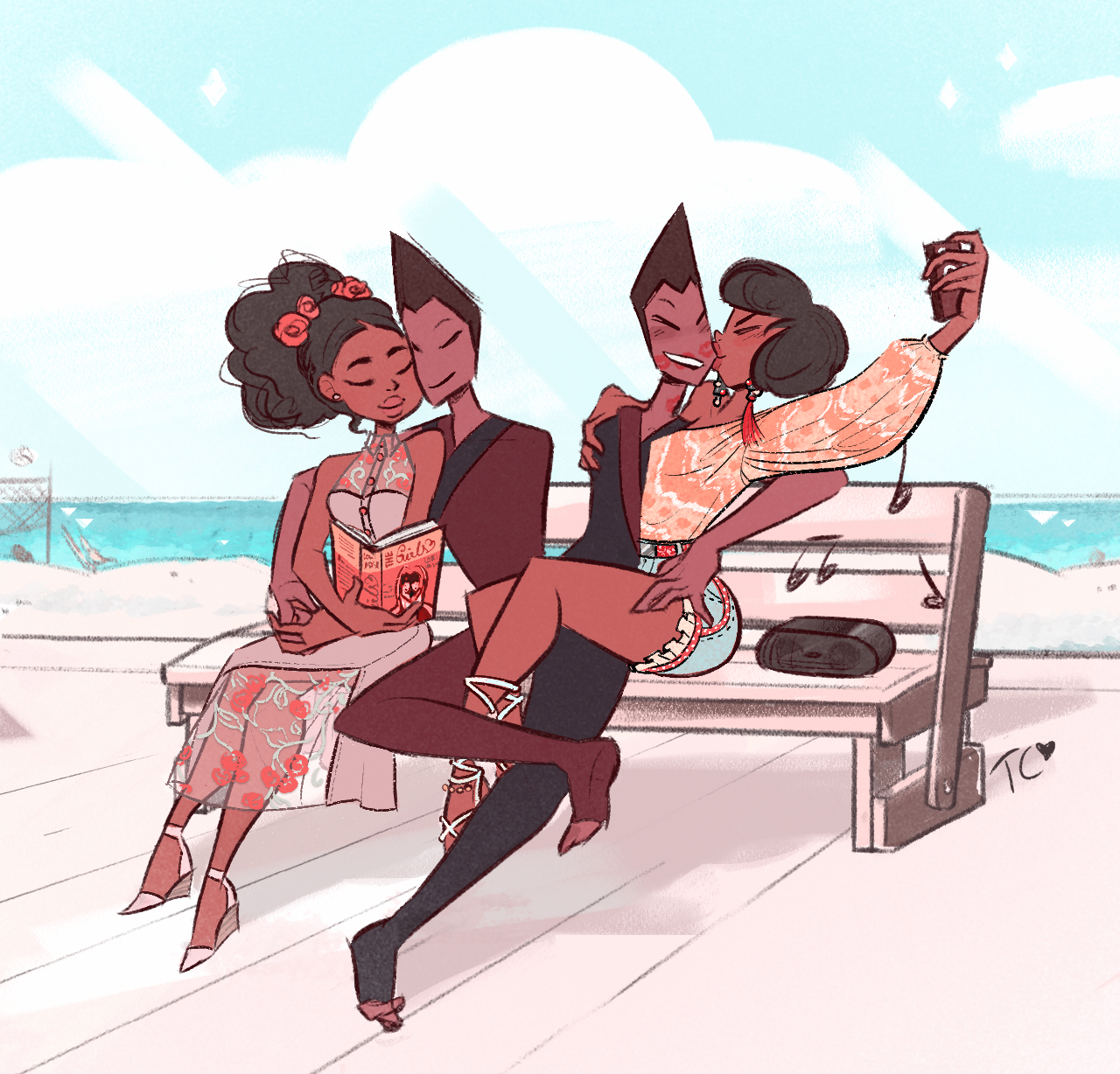 Summer double date! Summer double date!! 👯👯   Saw some crackship art of them a while back and I was like AYYY 🙌😍  Too cute! All four of them are gorgeous souls that would definitely get along if the off-colours manage to escape to Earth 💕   |Commissions Open!|