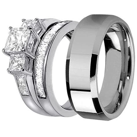 Hers Bridal Sterling Silver His Stainless Steel Engagement