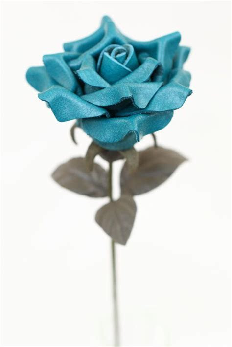 Leather rose teal third Anniversary wedding gift Long Stem