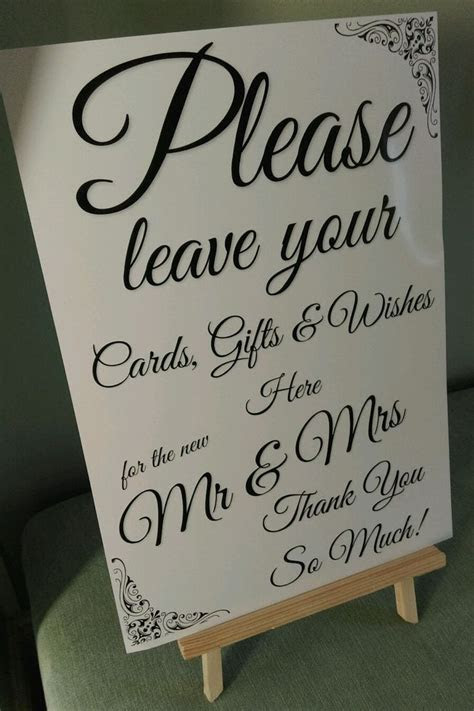 wedding sign gift table post box wishing