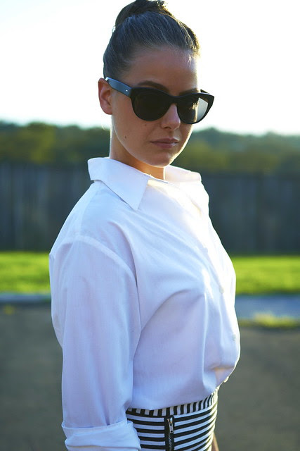 white shirt b striped skirt
