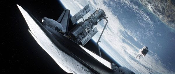 The Hubble Space Telescope is repaired during a fictional space shuttle mission in GRAVITY.