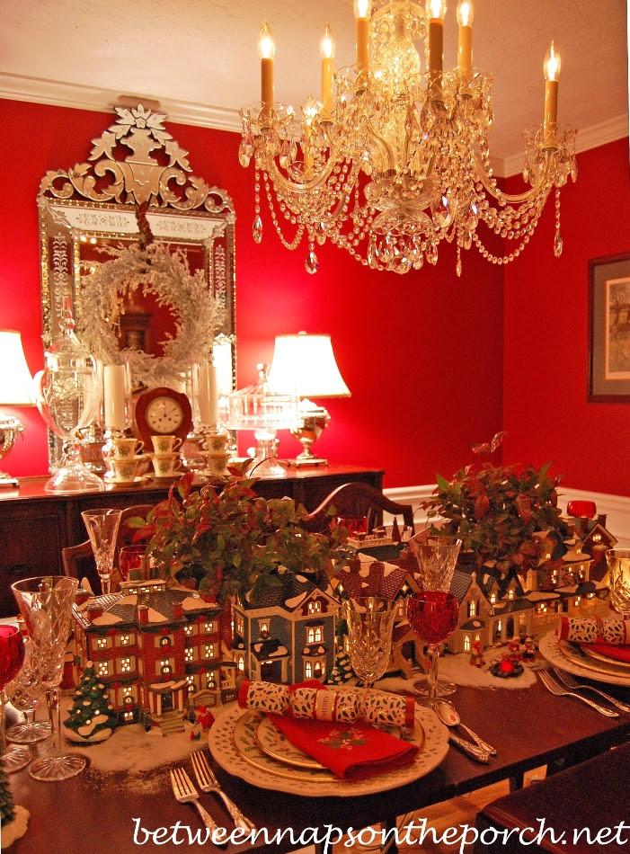 Christmas Table Setting with Dept. 56 Lit Houses