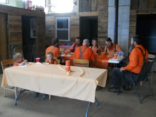 The Men Eating and Fellowshipping on The 12th Orange Day, 2012