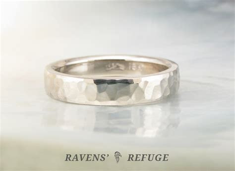 unique wedding band ring hammered in 18k palladium white