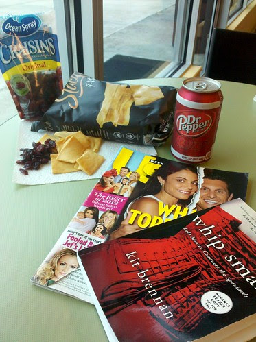 Chips, Craisins, Dr Pepper & Reading for Lunch