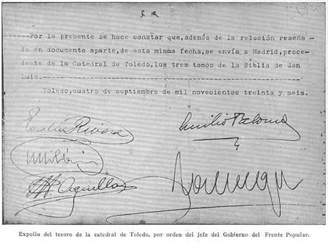 Página 2 del acta de incautación del Tesoro de la Catedral de Toledo por las autoridades republicanas el 4 de septiembre de 1936