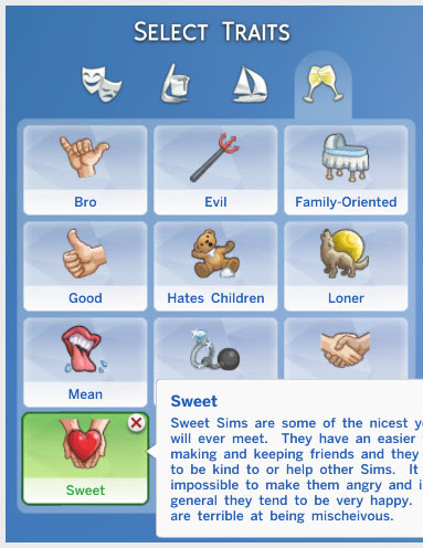 http://willow-geek.tumblr.com/post/106954274799/custom-trait-sweet-will-enjoy-doing-nice-things