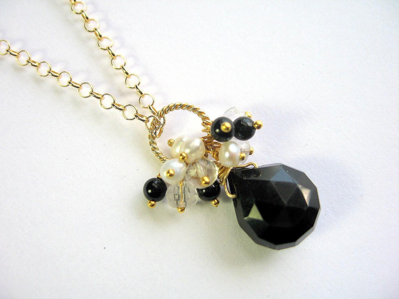 Onyx Teardrop Necklace - Gemstone - Black and Gold Vermeil - Cluster Pendant