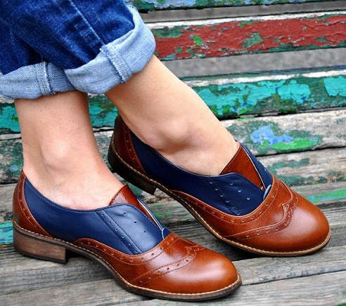 The dually coloured leather womenshoe -22