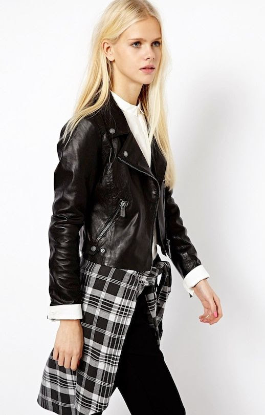 LE FASHION BLOG LEATHER AND PLAID MIX ESPRIT MOTO JACKET BLACK AND WHITE PLAID SHIRT TIED AROUND WAIST WHITE COLLARED BUTTON UP SHIRT ASOS PICKS LONG BLONDE HAIR NATURAL BEAUTY PINK NAIL POLISH 2 photo LEFASHIONBLOGLEATHERANDPLAIDMIXESPRITMOTOJACKET2.jpeg