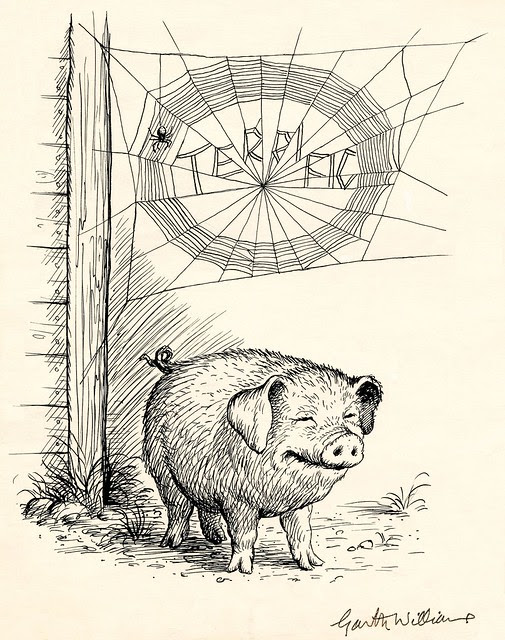 ink sketch of happy pig below the word 'terrific' woven in spider's web