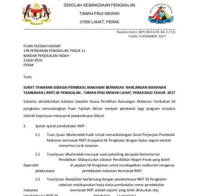 Surat Rasmi Tawaran Kerja Kontrak Surat Rasmi Y
