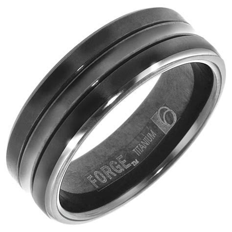 Benchmark Mens Wedding Band in Black Titanium (7mm