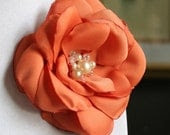 Patricia: Sunset Orange Fabric Flower Hair Pin, Clip, or Brooch