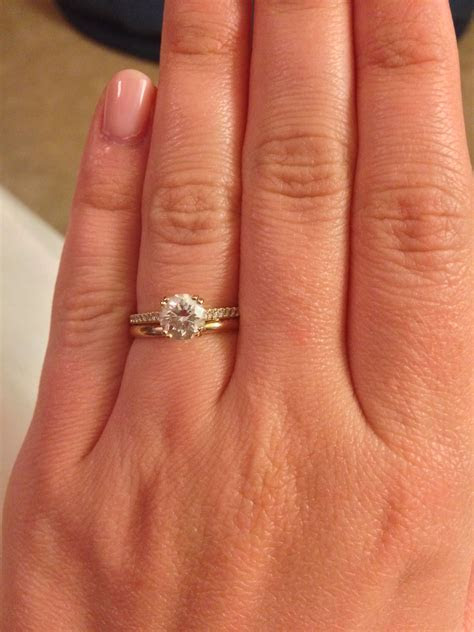 Pave engagement ring with plain wedding band   Wedding